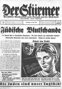"""Seit 1923 hetzte Julius Streicher mit seinem Schmierblatt """"Der Stürmer"""" gegen Juden; die Auflage schnellte binnen weniger Jahre von 25.000 auf 500.000 Exemplare hoch."""