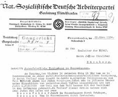 Auszug aus dem Schreiben der NSDAP an Julius Streicher vom 27. März 1934