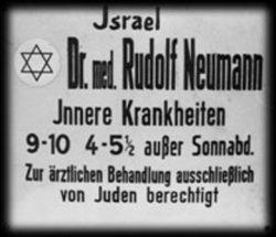 """Ärztetafel eines jüdischen Arztes in NS-Deutschland. Nach dem Entzug der Approbation mussten sich die jüdischen Ärzte """"Kranken-behandler"""" nennen und durften nur noch Juden behandeln (Foto: Wikipedia - Urheber unbekannt)"""