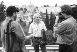 Team der Medienwerkstatt Franken beim Interview mit Werner Braun in Jerusalem